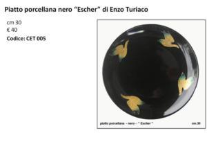 CET 005 Piatto porcellana nero Escher