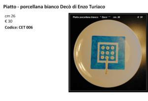 CET 006 piatto porcellana bianco Decò