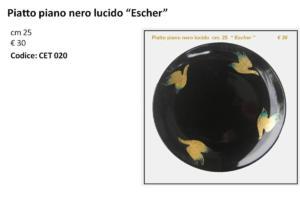 CET 020 Piatto piao nero lucido Escher