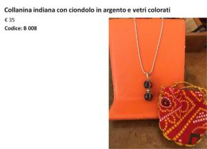 Collanina indiana con ciondolo in argento e con vetri colorati