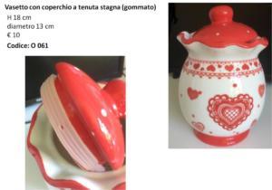 O 061 Vasetto a tenuta stagna bianco e rosso