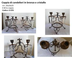 O 070 coppia di candelieri in bronzo e cristallo