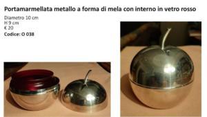 Portamarmellata metallo a forma di mela con interno in vetro rosso dia 10 cm h 9 cm € 20