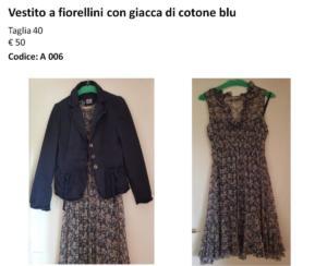 Vestito a fiorellini con giacca di cotone blu taglia 40 - € 50